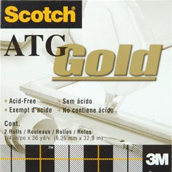 "Scotch ATG Gold Transfer Tape 2/Pkg - .25""X36 Yards"