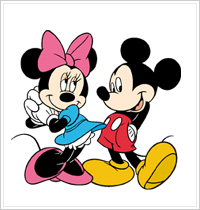 All Night Media - Disney Wood Mounted Stamps - Mickey Loves Minnie