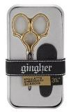 "Gingher Embroidery Scissors 3.5"" Epaulette, Gold Handle in Gift Tin"