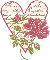 Posh Impressions Wood Mounted Stamp - Floral Heart