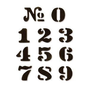Sizzix - Movers & Shapers - Tim Holtz Dies - 11PK - Cargo Stencil Number Set